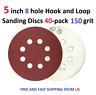 5 inch 8 hole Hook and Loop Sanding Discs 40-pack 150 grit