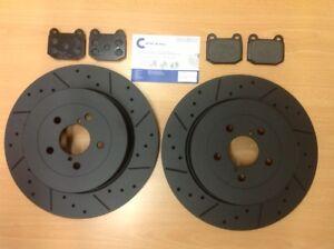 For Subaru Impreza WRX STi 00-05 5x100mm Rear MTEC Black Brake Discs & Pads