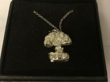"""Bonsai Tree GT150 Pewter On 24"""" Silver Plated Curb Necklace"""