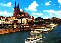 Köln am Rhein , Rheinufer und Dom, Ansichtskarte , 1977 gelaufen