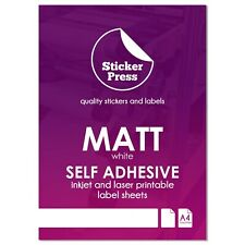 A4 Matt White Self Adhesive Sticker Paper Inkjet And Laser Printable Labels