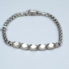 "New DAVID YURMAN Silver Faceted Metal Bead Box Chain 8"" Bracelet Medium NWT"