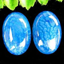 2Pcs Delicate Water Blue Dragon Veins Agate Oval Cab Cabochon 30*20*6mm AE1168