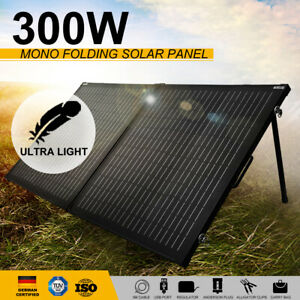 300W 12V Folding Solar Panel Kit Mono Caravan Boat Camping Power Charging Black