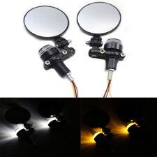 Motorcycle Handlebar Reversing Mirror Turn Signal Light Plug End Lamp Aluminum