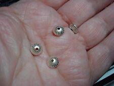 4 Thai Karen Hill Tribe Bright .999 Fine Silver Corrugated Beads, 7x4mm