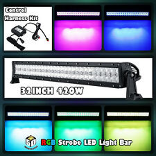 "32""inch 420W CREE RGB LED Light Bar Strobe Flash Multi Color Halo Ring 30""50""54"""