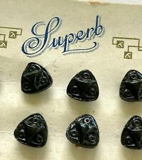 Vintage  Buttons - 24 Black Shank Carved Glass Buttons -Made in Czechoslovakia
