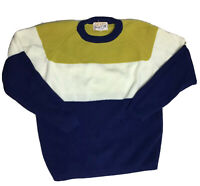 Vintage Catalina Martin 80s 90s Color Block Wool Crew Neck Ribbed Sweater Med