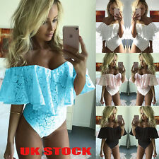 UK Ladies Off Shoulder Bodycon Bodysuit Full Lace Womens Flare Leotard Tops