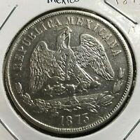 MEXICO 1873 MoM  SILVER UN PESO HIGH GRADE CROWN