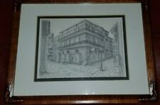 """Archie C. Boyd """"The Pirate's Parsonage"""" New Orleans Pencil Sketch Matted Framed"""