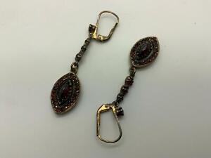 Wunderschöne Ohrringe Granat Jugendstil 800er Silber.
