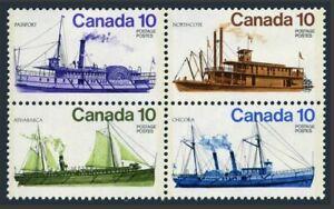 Canada 700-703a block,MNH.Michel 644-647. Inland vessels,1976.Northcote,Passport