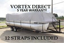 GRAY 22 FT / 22 Foot Ultra Pontoon Boat Cover w/Elastic Seam and Tie Downs