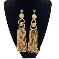 Vtg Neutral Tones Seed Bead Fringe Drop Dangle Tassel Earrings Boho Statement