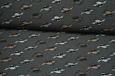 NEU Kinder Jersey Stoff Stoffe Meterware Vogel  Grau Schwarz  Beige 25 cm