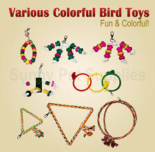 Bird toys fun colorful aviary parrot Parakeet budgie rope wooden hang climb cage