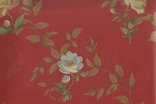 Wallpaper Designer Large Floral Toss on Brick Red Green Blue Orange Yellow Gold