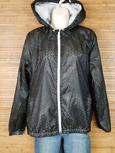 Nanette Lepore Black Die Cut Eyelet Windbreaker Jacket Womens Size Medium M EUC