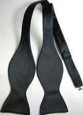 BL1001L Pure Black Solid 100%Silk Woven Men's Self Bow Tie