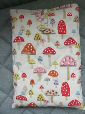 More details for handmade quilted cotton book sleeve cover using cath kidston mini mushrooms
