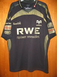 Ospreys Rugby Union Football Jersey Shirt Kooga size XXL 46/48 Black & Gold