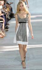 DVF DIANE VON FÜRSTENBERG Daisy Gingham Sleeveless Dress Black White Sz 6 $548