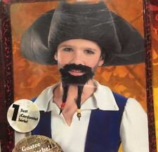 Pirates of the Caribbean Jack Sparrow Costume Hat w Mustache Goatee Halloween