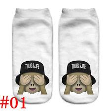 Lovely Women 3d Print Casual Emoji Socks Men Unisex Low Cut Ankle Cotton Socks #01