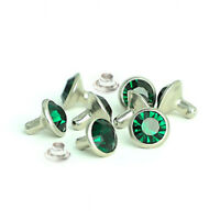 100pcs Emerald Glass Crystal Rhinestone Rivet Nailhead Stud Leathercraft
