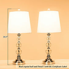 Chrome-coated Table Lamp Stacked Crystal Ball Rotary On/Off Switch (Set of 2)