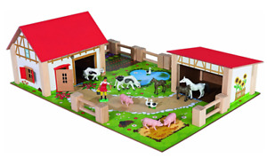Farm Yard Wooden Kids Toddler Toy Play Set With Figures Buildings Animals Fences