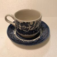 CHURCHILL BLUE WILLOW - CUP & SAUCER  -  MADE IN ENGLAND - Vintage With Crazing.