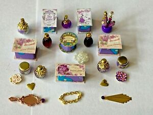 SHABBY CHIC PURPLE ACCESSORIES FOR A 1/12 SCALE DOLLS HOUSE