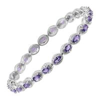 6 1/2 ct Natural Tanzanite Tennis Bracelet with Diamonds in Sterling Silver