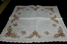 Vintage White with Pink & light Green Floral Flowers Hankie Handerchief Paris