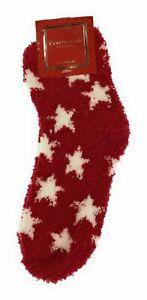 Charter Club Women's Cozy Fuzzy Socks Red with White Stars