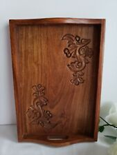 Decorative Hand Carved Wooden Serving Tray Made in India