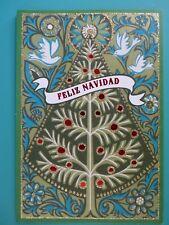 Spanish Christmas Greeting Card For Anyone Embellished Front Unused Hallmark