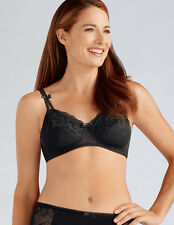 Black Lace Bra Soft Cup No Wire Pocketed Mastectomy Bra 'Karla' by Amoena - 32A