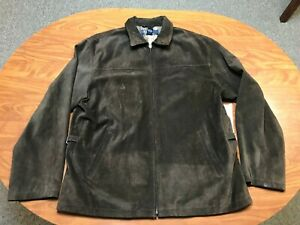 MENS VINTAGE USED POLO RALPH LAUREN DARK BROWN LEATHER SUEDE JACKET SIZE LARGE
