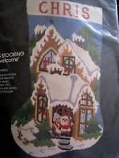 Bucilla Painted Holiday Needlepoint Stocking Kit,CHRISTMAS WELCOME,House,60597