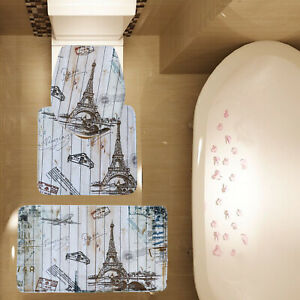 3 Piece Vintage Paris Eiffel Tower Bathroom Mat Set Contour Mat Toilet Cover