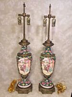 Vtg Pair of Chinese Export Style Lamps Urn Shaped Brass Bases w/ Floral Design