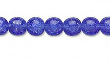 25 Sapphire Glass Round Crackle Beads 8MM