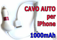 caricabatteria da auto cavo auto APPLE iPhone 3 3g 3gs 4 4s 1000mAh