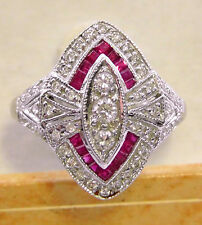 FINE & RICH VINTAGE ESTATE 18K W GOLD DIAMONDS RUBY RING