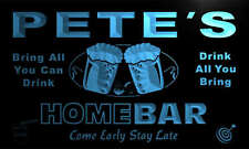 p374-b Pete's Personalized Home Bar Beer Family Name Neon Light Sign
