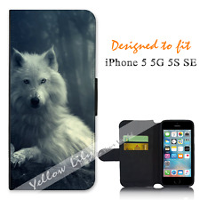 For Apple iPhone 5 5G 5S SE Wallet Flip Phone Case Cover White Wolf Y00767